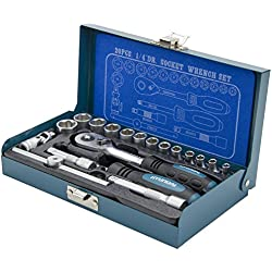 """HYUNDAI Steckschlüsselset K20 (1/4"""" Zoll Steckschlüsselsatz, 20-teilig, 72-Zahn Umschaltknarre, SUPER LOCK Steckschlüsseln, Nusskasten Set, Ratschenset, Knarrenkasten, Werkzeugkoffer, Werkzeugset)"""