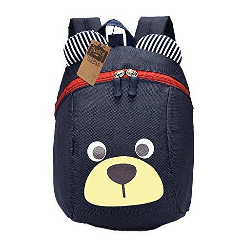 Kinderrucksack TEAMEN Anti verloren Kinder Rucksack Mini Bär Schule Tasche für Baby Jungen Mädchen Kleinkinder 1 - 3 Jahre (Dunkelblau) (Ergonomische Schulter Riemen)