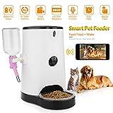 DIDseth Futterautomat Automatischer Futterspender Wifi Hundekamera 120° 4L mit Smartphone App Fernbedienung 2-Wege-Audio unterstützt 64GB SD Kard und Echtzeit-Sharing| Weiß