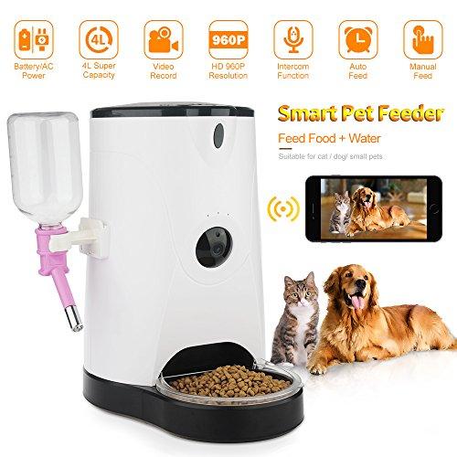 DIDseth Futterautomat Automatischer Futterspender Wifi Hundekamera 120° 4L mit Smartphone App Fernbedienung 2-Wege-Audio unterstützt 64GB SD Kard und Echtzeit-Sharing  Weiß