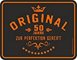 empireposter Birthday/Geburtstag - Original 50 Jahre zur Perfektion gereift - Spruch Blechschild mit 4 Saugnäpfen - Größe 22x17 cm