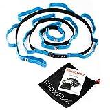 FlexFixx - Cinghia elastica per aumentare la flessibilità–ottima per fitness, yoga, danza, pilates, fisioterapia, riabilitazione con 12passanti, poggiapiedi imbottito, borsa e manuale utente [lingua italiana non garantita], Blue