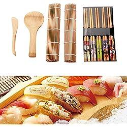 Dewin Sushi Fare Kit - Bamboo Sushi Kit Maker, for la Famiglia, Festa di Lavoro, in casa Sushi Gadget, for i buongustai, 13 Pezzi/Set