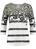 Key Largo Damen Shirt ZOE Round 3/4-Arm mit Animal-Print und Blockstreifen (S, Khaki)