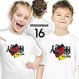 Deutschland Kinder T-Shirt zur Fussball EM 2016 personalisiert mit eigener Rückennummer und Wunschname Gr. 128