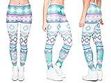 Alsino Leggings Damen Bedruckt Sexy Leggins Ladies mit Print Look Motiv Muster Stretch Legins Hose, wählen:LEG-037 Muster bunt