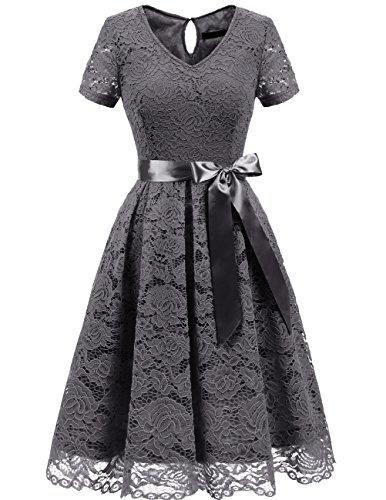 Dresstells Damen Spitzenkleid Herzform Elegant Cocktail Abendkleid Grey S