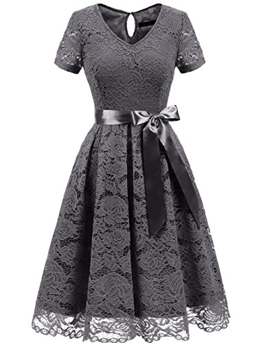 Dresstells Damen Spitzenkleid Herzform Elegant Cocktail Abendkleid Grey M (White Dress Cap Sleeve)