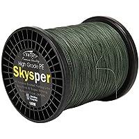 SKYSPER® 1000m Sedal Trenzado 20lb/ 0.165mm de PE 100% Línea de Pesca Profesional Verde Claro