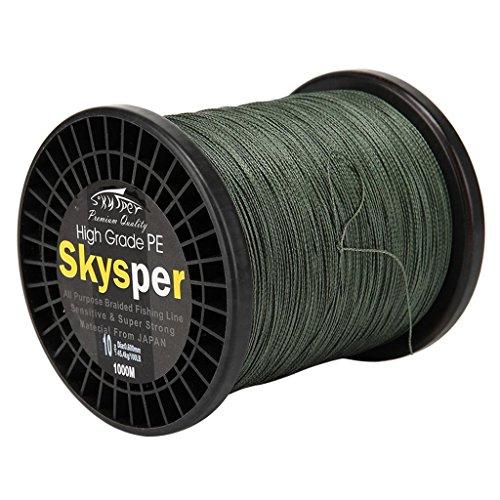 Skysper 1000M 30LB diametro 0.234mm PE Linea di Pesca Super forti Quattro fili di linea intrecciata Multifilament pesca polietilene filo ritorto Lenza da pesca verde