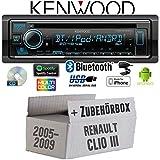 Renault Clio 3 - Autoradio Radio Kenwood KDC-BT530U - Bluetooth   Spotify   iPhone   Android   CD/MP3/USB - Einbauzubehör - Einbauset