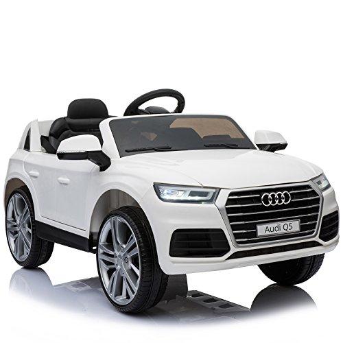 Homcom Coche Eléctrico para Niño 3-8 Años Audi Q5 con Mando a Distancia MP3 Luces y Sonidos Asiento de Cuero Apertura de Puerta 116x75x56cm Carga 30kg