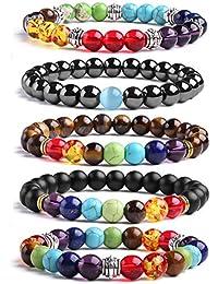 J.Fée 3-5 PCS Chakras Healing Gemstone Bracelet Men&Women Healing Oil Diffuser Bracelet Solar System Adjustable Bracelet