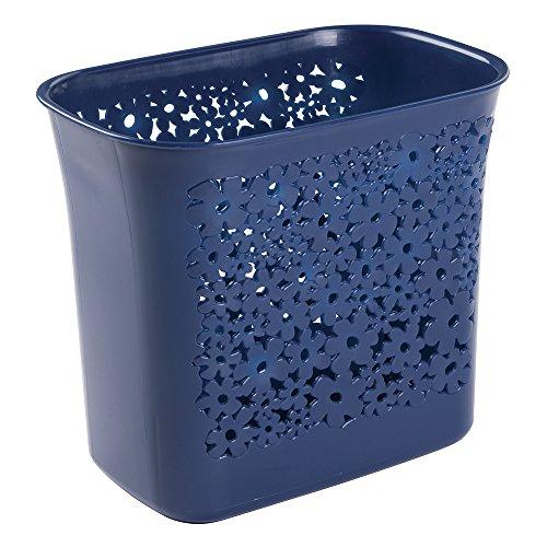 Papier-kunststoff-korb (mDesign Mülleimer mit kleinen Löchern - ideal als Abfalleimer oder als einfacher Papierkorb - robuster Kunststoff - für Küche, Bad und Büro - modernes Design und 5,6 Liter Volumen - Farbe: dunkelblau)