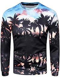 Qiusa Camiseta Negra de Manga Larga para Hombre, Camisetas Casuales, diseño de Hawian Personalizado en 3D, diseño de Cuello Redondo,…