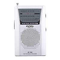 Dolity BC-R60 Mini Pocket AM FM Radio Slim Portable Radio Receiver Stereo Speakers Music Player with Telescopic Antenna