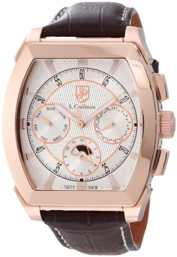 SCoifman-Mens-Quartz-Watch-with-Silver-Dial-Chronograph-Display-and-Brown-Leather-Strap-SC0090