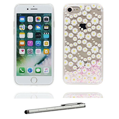 "iPhone 7 Coque, Princesse sirène Skin Hard Clear étui iPhone 7, Design Glitter Bling Sparkles Shinny Flowing Apple iPhone 7 Case Cover 4.7"", résistant aux chocs & stylet Marguerites"