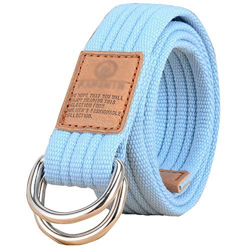 Stoffgürtel für Damen und Herren Doppel D-ringe Leinwand Canvas Schnalle Gürtel,Himmelblau,L*W:47.24 Zoll*1.33 Zoll 1.33