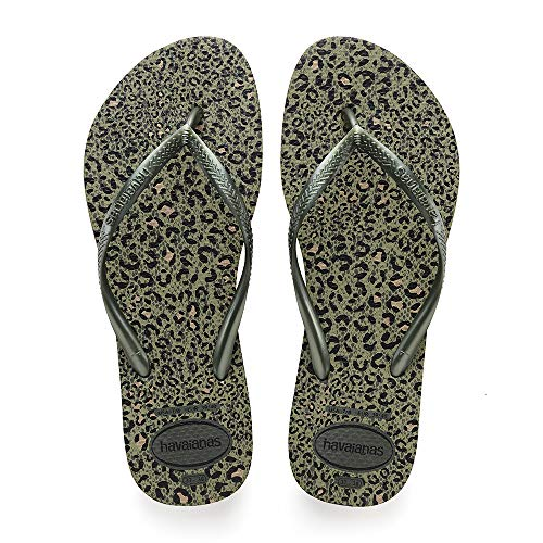 Havaianas Slim Animals, Infradito Donna, Verde (Olive Green Metallic 9181), 39/40 EU