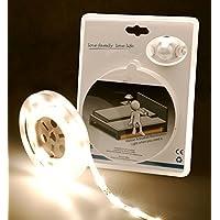 LED Universo LED cama iluminación Blanco Cálido para una cama individual con sensor de movimiento y de claridad (LED Set 12V con fuente de alimentación, sensor de movimiento, 1,2m de longitud)