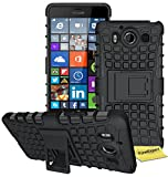 FoneExpert® Microsoft Lumia 950 Handy Tasche, Hülle Abdeckung Cover schutzhülle Tough Strong Rugged Shock Proof Heavy Duty Case für Microsoft Lumia 950 + Displayschutzfolie (Schwarz)