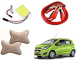 Auto Pearl Premium Quality Car Accessories Combo of SMD/LED Interior Roof Ceiling Light. & Beige Designer Car Neck Rest Set of 2 Pcs. & Car Heavy Duty Jumper Booster Cables Anti Tangle Copper. For Chevrolet Beat Type-2