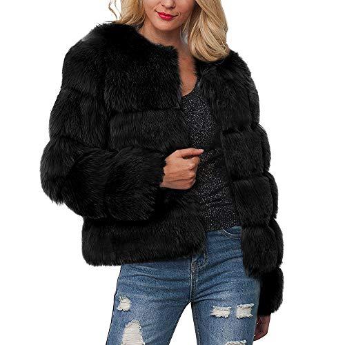 KUDICO Damen Mantel Herbst Winter warm luxuriöse Faux Pelz Solid gradientenparka Outerwear Jacke Sweater Tops, Angebote!(Schwarz, EU-36/CN-S)