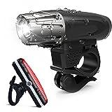 LED Fahrradbeleuchtung Set,Wiederaufladbare Fahrradlicht mit LED Rücklicht,200 Lumen 4 Licht Modi IP65 Wasserdicht,USB Aufladbare Fahrradlichter