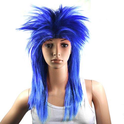 Gleader 80er Damen Glam Punk Rock Rocker-Kueken Tina Turner Peruecke fuer eine Kostuem - Blau (Rocker Küken Kostüm)
