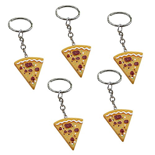 Ruikey Llavero Pizza Purse Bag Car Key Ring Colgante de Regalo para Mujeres Chica Conjunto de 5