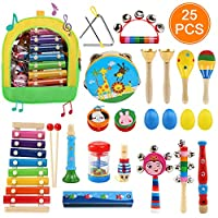 Ballery Toddler Musical Instruments, 25 Pcs Wooden Percussion Instrument Toys Rhythm Band Set Including Xylophone, Drum - Musical Toys Set for Boys and Girls with Storage Backpack