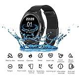 JASZHAO Bluetooth Smartwatch, Wasserdicht/Anruferinnerung/Herzfrequenzerkennung/Schrittzähler/Music Player Smart Watch Men für IOS Android,B