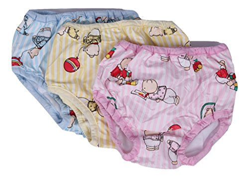 Baby Joy-Girls Panty Nappies Nicker Bloomer Inside Cotton Outside Waterproof Printed Plastic, (3-9 Months),Pack Of 3,Multicolor.