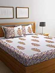 Boutique Bedding Queen Size 100 Cotton 250TC Bedsheet with 2 Pillow Covers (Brown and Yellow, 235x225 cm)