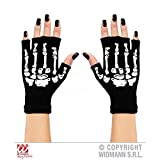 Handschuhe Skelett fingerlos aus Wolle / Halloween / Kostüme / Fasching / Skelettkostüm Zubehör Skeletthandschuhe