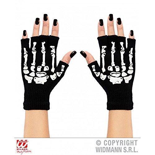 Handschuhe Skelett fingerlos aus Wolle / Halloween / Kostüme / Fasching / Skelettkostüm Zubehör - Kostüme Halloween Handschuhe Skelett