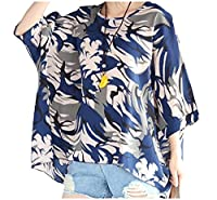 Tootlessly Women's Plus-size Print Ethnic Style Batwing Sleeve Blouse Blue One-Size
