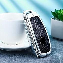 LUOLONG Car Key Case, Luxuxdiamanten Auto-Fernschlüsselkasten-Schlüsselabdeckung für Mercedes Benz C-Klasse W205 C200 C180 C260 C300 E-Klasse W213 E200 S-Klasse, nur Schwarze Abdeckung