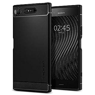 Spigen [Rugged Armor] [Black] Case for Sony Xperia XZ1, Original Patent Carbon Fiber Design Flexible Slim TPU Phone Cover for Sony Xperia XZ1 Case (2017) - G11CS22411