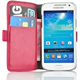 Samsung Galaxy S4 Mini, JAMMYLIZARD Luxuriöse Ledertasche Flip Cover, KNALLROSA