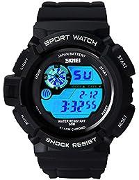 Hiwatch Montre de Sport pour Hommes LED Digital Analogique 5ATM Etanche Montres Chronomètre Noir