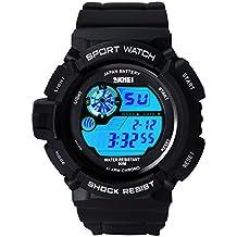 Hiwatch Orologio Ragazzo e Uomo Sportivo Digital Analogico 5ATM Orologi impermeabili Cronometro Nero