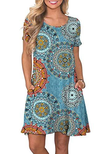 Sommerkleid Damen T Shirt Kleid Rundhals Kurzarm Minikleid Kleider Langes Shirt Lose Tunika mit Taschen, Blau-grün, Large Grün Abend Kleid