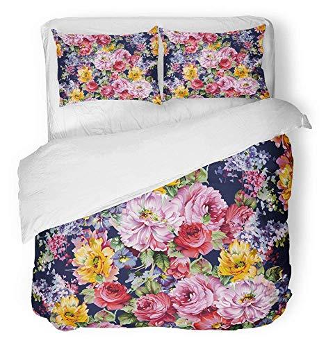 Floral Bettdecke In Voller Größe (3-teiliges Set aus gebürstetem Mikrofaser-Bettbezug, Pink Beauty, Aquarell-Blumenmuster, bunt, floral, französisch, abstrakte Bettwäsche, abstrakt, Set mit 2 Kissenbezügen, in voller Größe / groß)