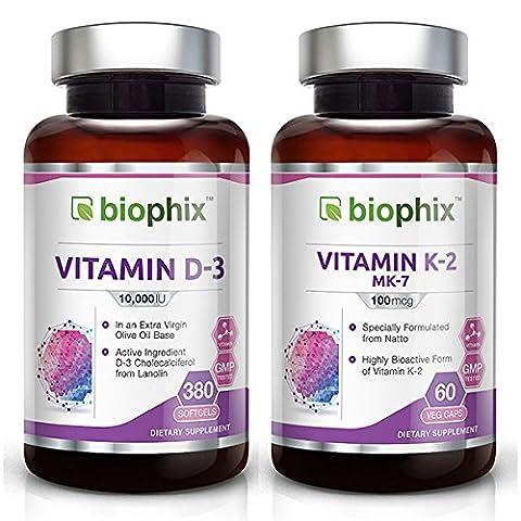 D3 10000 IU 380 Softgels - MK-7 Vitamin K-2 100 mcg 60 Vcaps Pack - Olive Oil Strong Bones Immune Health Support