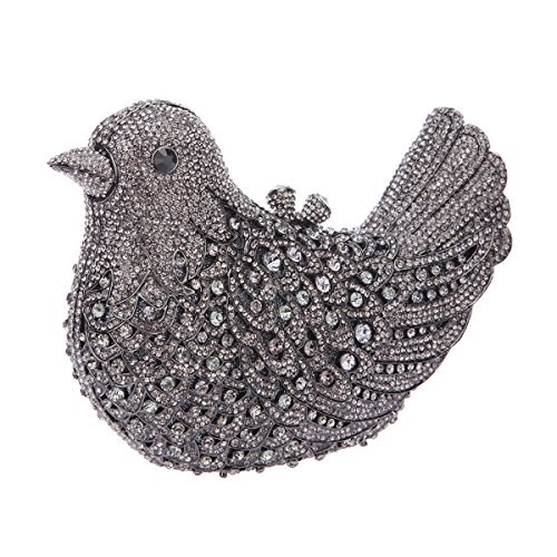 Bonjanvye Glitter Rhinestone Bird Clutch Purses Evening Clutch Bag for Girls Orange gray