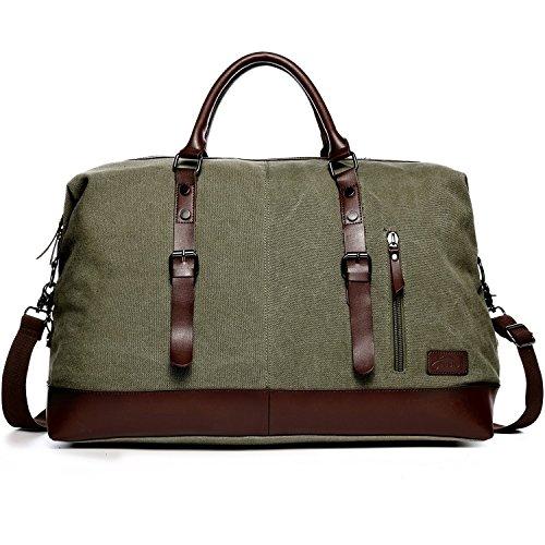 Fresion Multipurpose Vintage Segeltuch Canvas Leder Unisex Handgepäck Reisetasche Sporttasche für Reise am Wochenend Urlaub