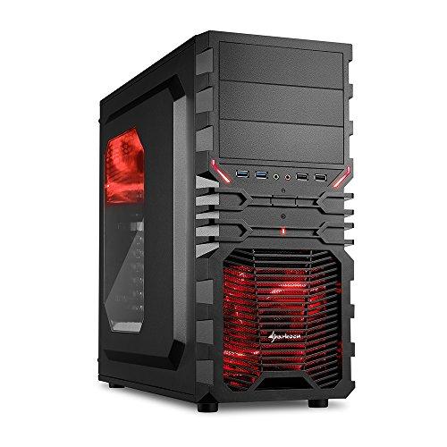 Sharkoon VG4-W Rot PC-Gehäuse mit Window Kit (2x USB 3.0, 2x USB 2.0, ATX) schwarz/rot (Festplatten-kit Usb)