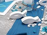 ZauberDeko Tischdeko Kommunion Konfirmation Petrol Blau Grau Weiß Fisch Set 20 Personen Isaak - 3